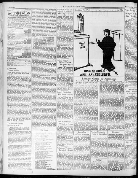 Daily Trojan, Vol. 25, No. 133, May 12, 1934