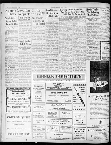Daily Trojan, Vol. 25, No. 78, February 15, 1934