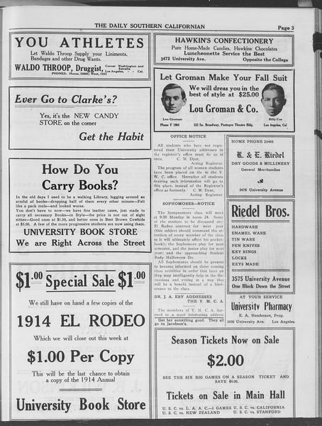 The Daily Southern Californian, Vol. 3, No. 21, October 16, 1913