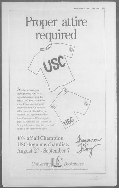 Daily Trojan, Vol. 113, No. 1, August 27, 1990