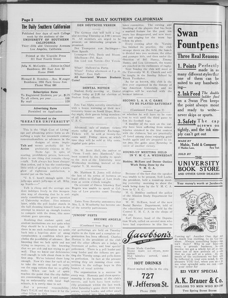 The Daily Southern Californian, Vol. 3, No. 25, October 23, 1913