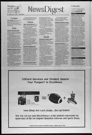 Daily Trojan, Vol. 147, No. 23, September 27, 2002