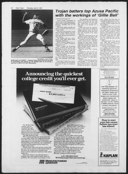 Daily Trojan, Vol. 103, No. 55, April 09, 1987
