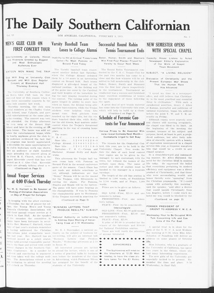 The Daily Southern Californian, Vol. 6, No. 2, February 09, 1915
