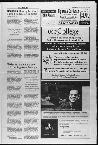Daily Trojan, Vol. 147, No. 63, November 25, 2002