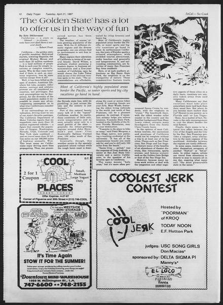 Daily Trojan, Vol. 103, No. 63, April 21, 1987