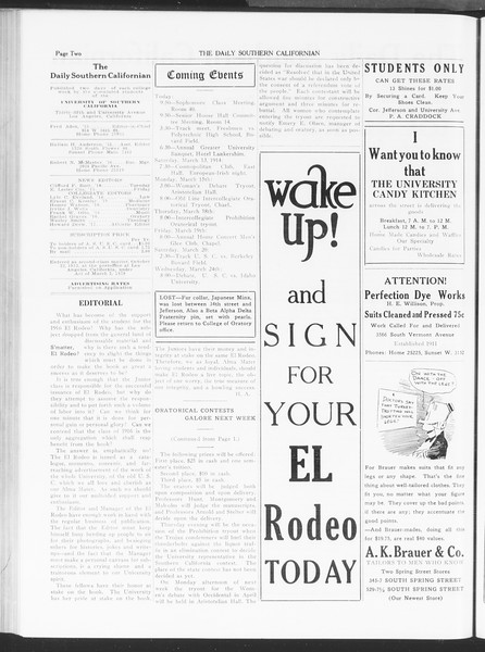The Daily Southern Californian, Vol. 6, No. 10, March 12, 1915