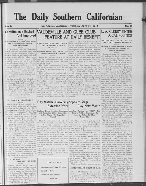 The Daily Southern Californian, Vol. 10, No. 36, April 24, 1913