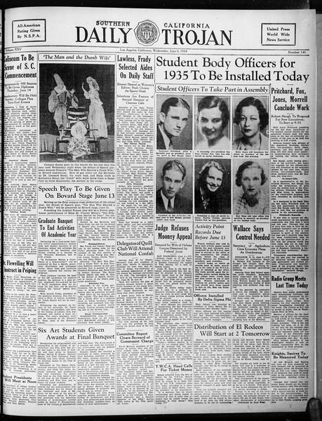 Daily Trojan, Vol. 25, No. 150, June 06, 1934