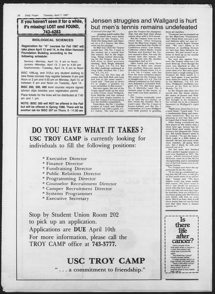Daily Trojan, Vol. 103, No. 53, April 07, 1987
