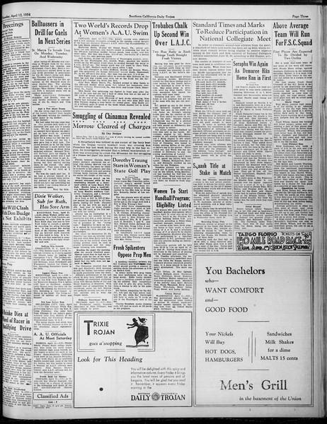 Daily Trojan, Vol. 25, No. 112, April 12, 1934