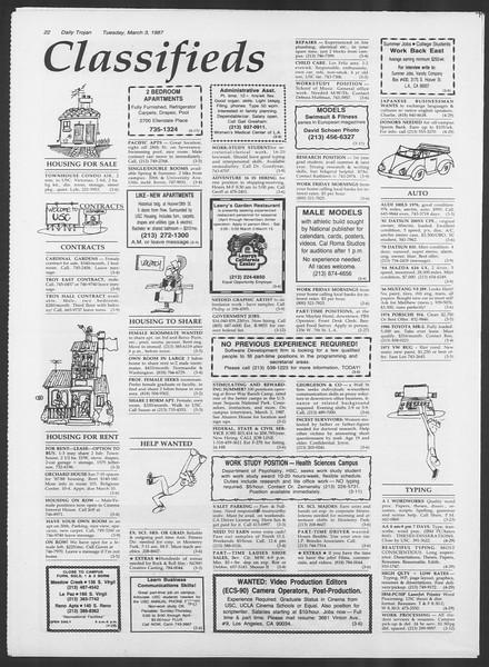 Daily Trojan, Vol. 103, No. 34, March 03, 1987