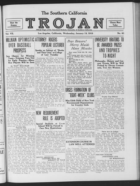 The Southern California Trojan, Vol. 7, No. 61, January 19, 1916