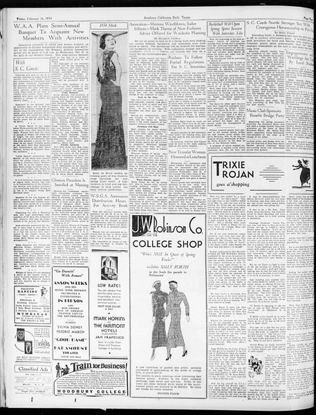Daily Trojan, Vol. 25, No. 79, February 16, 1934