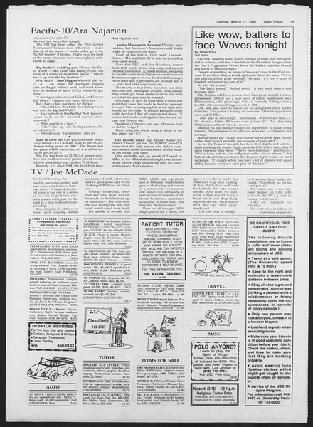 Daily Trojan, Vol. 103, No. 44, March 17, 1987