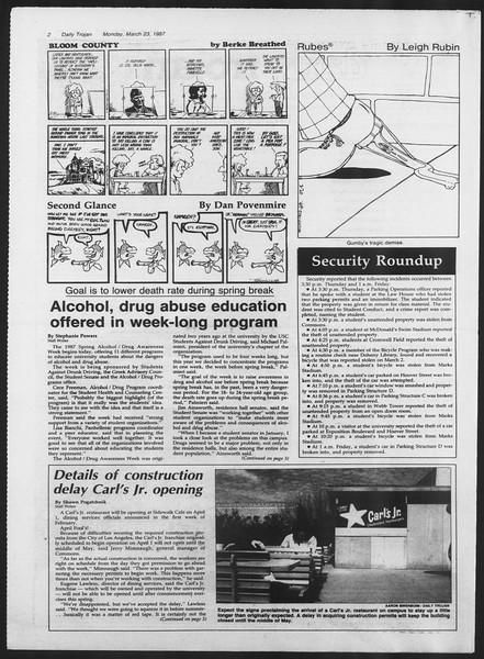 Daily Trojan, Vol. 103, No. 48, March 23, 1987