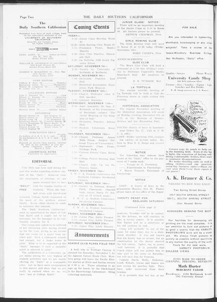 The Daily Southern Californian, Vol. 5, No. 30, November 06, 1914