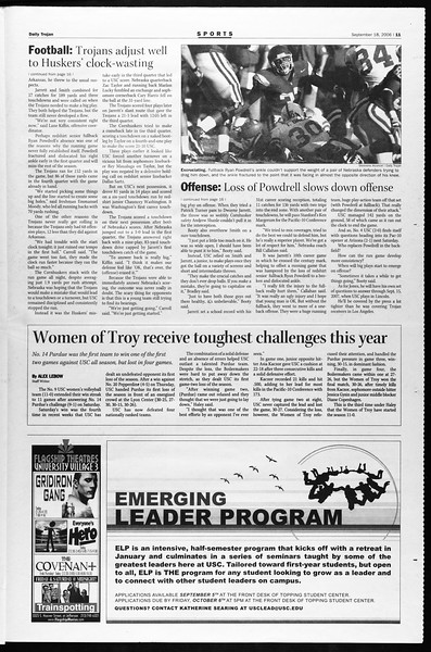 Daily Trojan, Vol. 159, No. 19, September 18, 2006