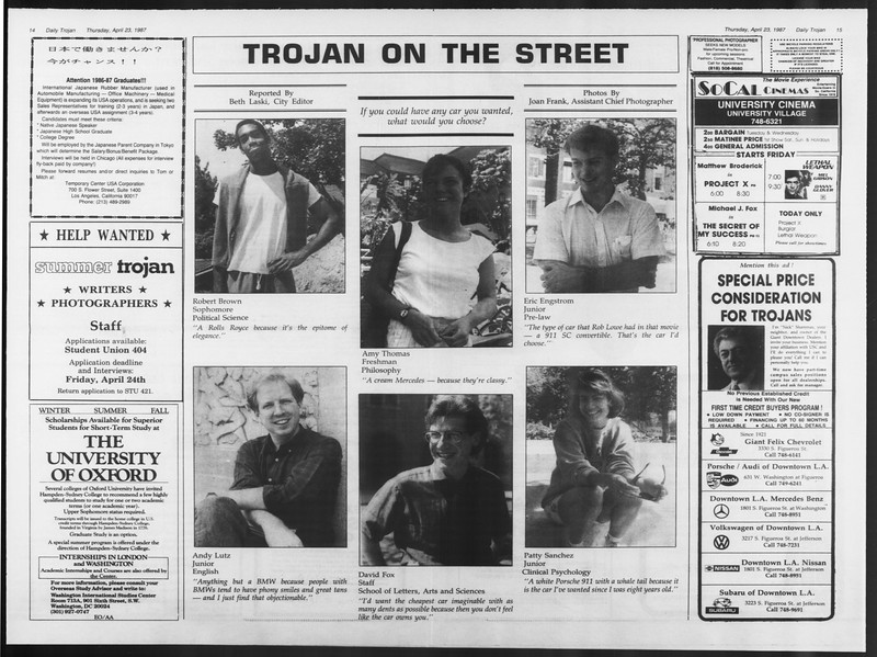 Daily Trojan, Vol. 103, No. 65, April 23, 1987