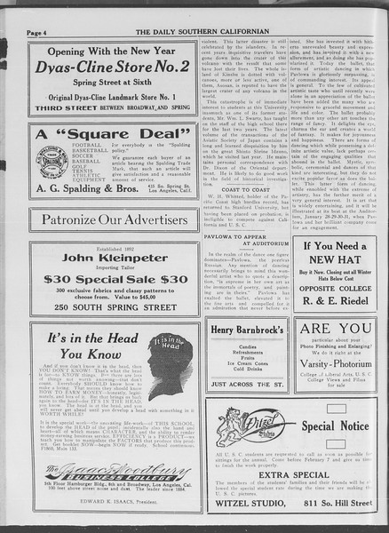 The Daily Southern Californian, Vol. 3, No. 64, January 20, 1914