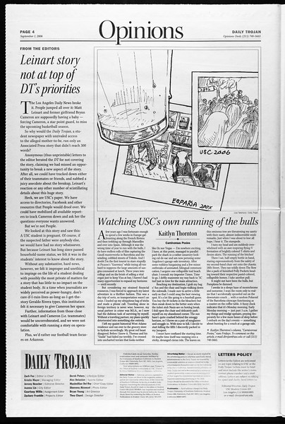 Daily Trojan, Vol. 159, No. 10, September 01, 2006