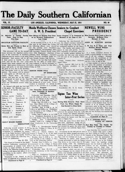 The Daily Southern Californian, Vol. 4, No. 49, May 27, 1914
