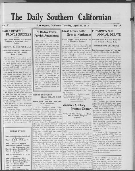 The Daily Southern Californian, Vol. 10, No. 38, April 29, 1913