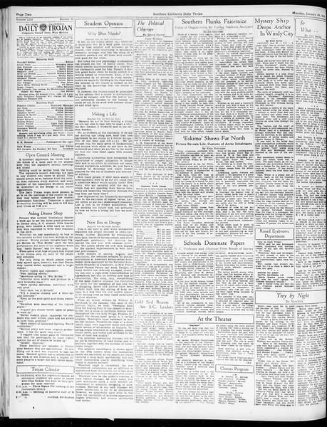 Daily Trojan, Vol. 25, No. 73, January 29, 1934