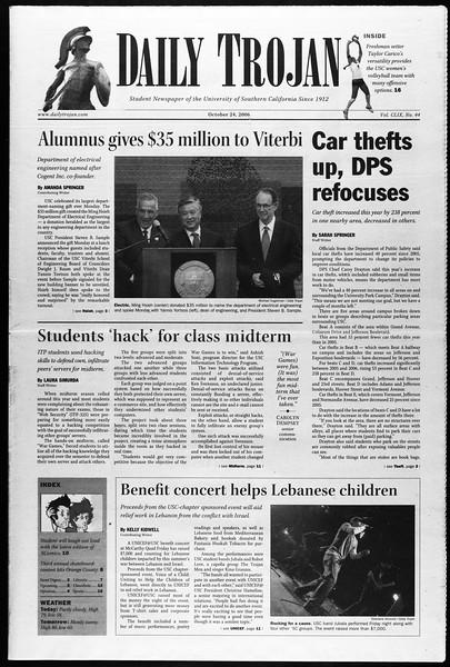 Daily Trojan, Vol. 159, No. 45, October 24, 2006