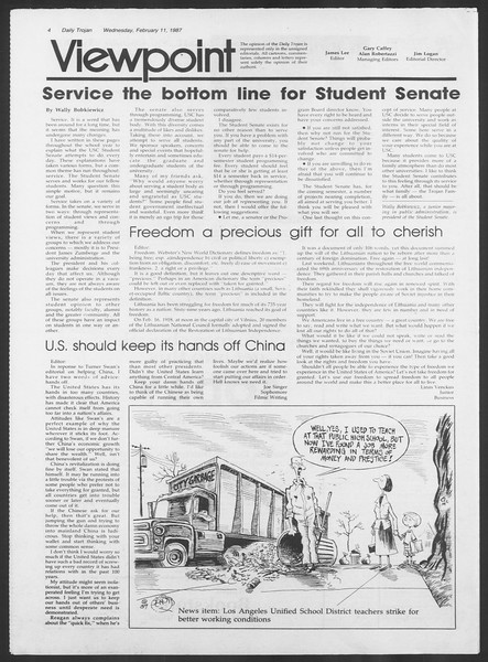 Daily Trojan, Vol. 103, No. 22, February 11, 1987