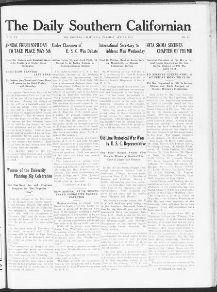The Daily Southern Californian, Vol. 6, No. 15, April 06, 1915