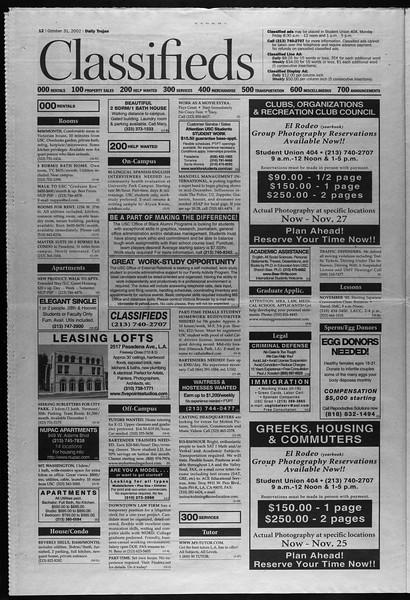 Daily Trojan, Vol. 147, No. 47, October 31, 2002