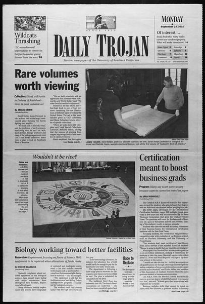 Daily Trojan, Vol. 147, No. 19, September 23, 2002