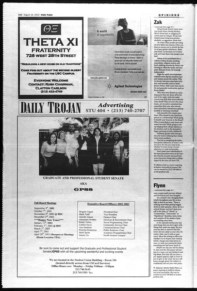 Daily Trojan, Vol. 147, No. 1, August 19, 2002