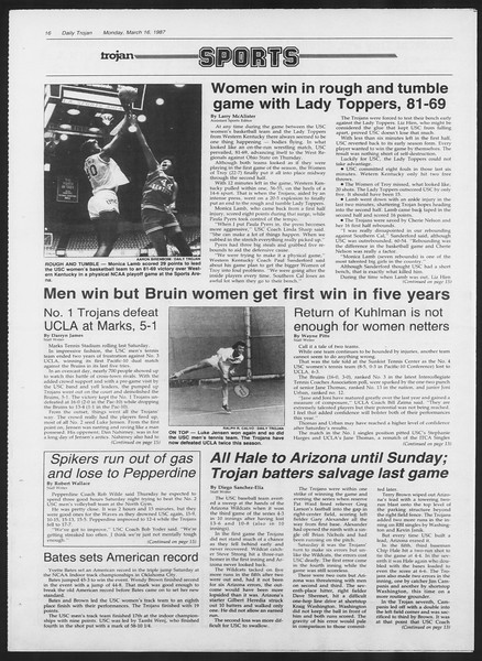 Daily Trojan, Vol. 103, No. 43, March 16, 1987