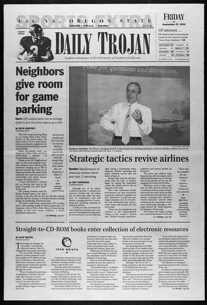 Daily Trojan, Vol. 147, No. 23, September 27, 2002