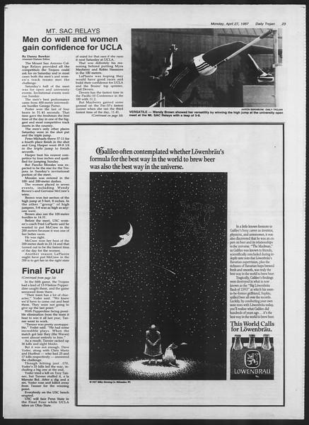 Daily Trojan, Vol. 103, No. 67, April 27, 1987