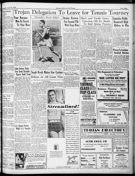 Daily Trojan, Vol. 25, No. 121, April 25, 1934