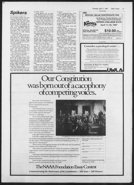 Daily Trojan, Vol. 103, No. 53, April 07, 1987