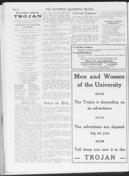The Southern California Trojan, Vol. 7, No. 5, September 23, 1915
