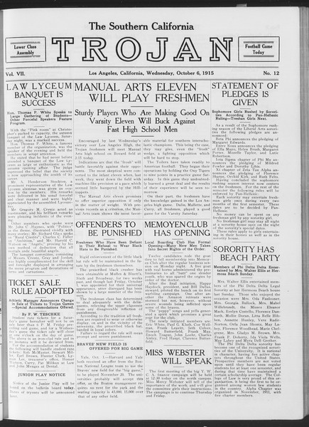 The Southern California Trojan, Vol. 7, No. 12, October 06, 1915