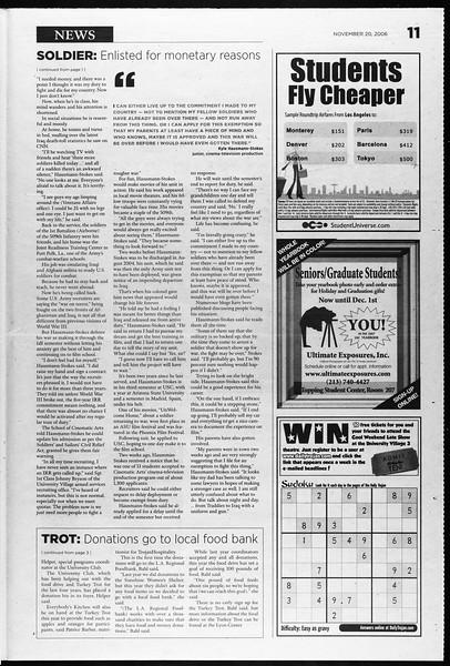 Daily Trojan, Vol. 159, No. 63, November 20, 2006