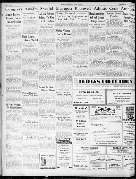 Daily Trojan, Vol. 25, No. 60, January 10, 1934
