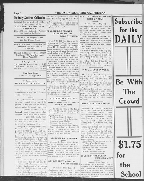 The Daily Southern Californian, Vol. 3, No. 3, September 16, 1913