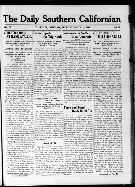 The Daily Southern Californian, Vol. 4, No. 23, March 19, 1914