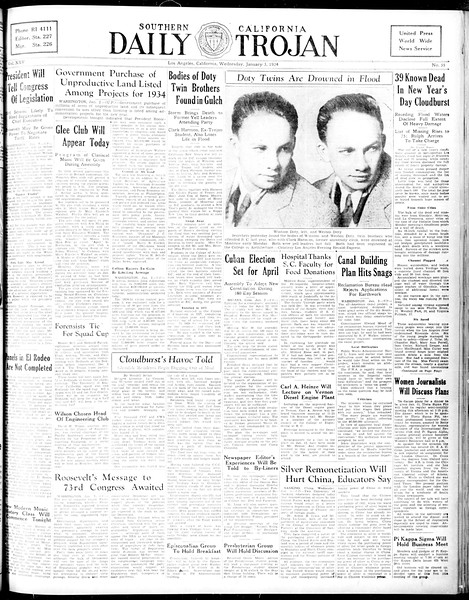 Daily Trojan, Vol. 25, No. 55, January 03, 1934
