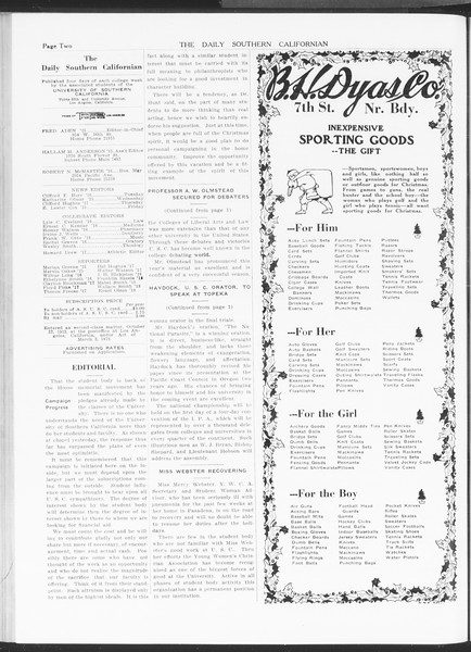The Daily Southern Californian, Vol. 5, No. 47, December 18, 1914