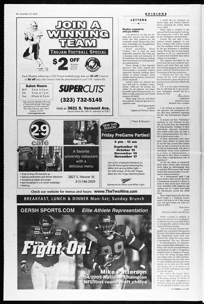Daily Trojan, Vol. 159, No. 57, November 10, 2006
