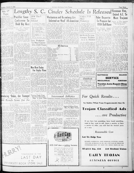 Daily Trojan, Vol. 25, No. 56, January 04, 1934