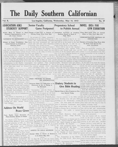 The Daily Southern Californian, Vol. 10, No. 47, May 14, 1913